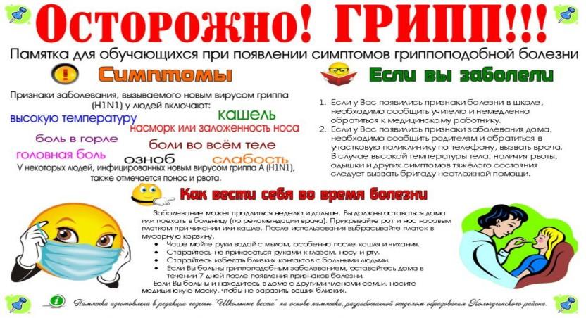 Плакат профилактика гриппа и орви в школе